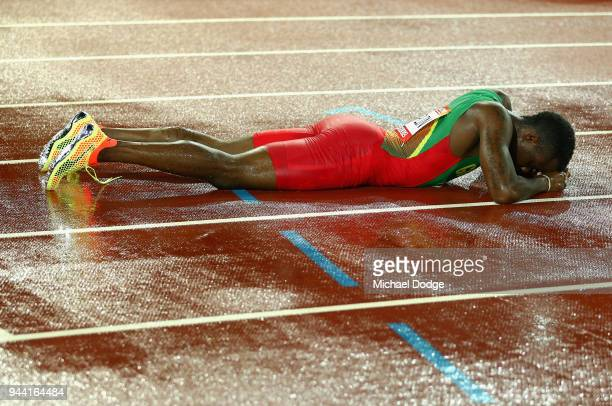 Bralon Taplin of Grenada reacts after the Men's 400 metres final during the Athletics on day six of the Gold Coast 2018 Commonwealth Games at Carrara...