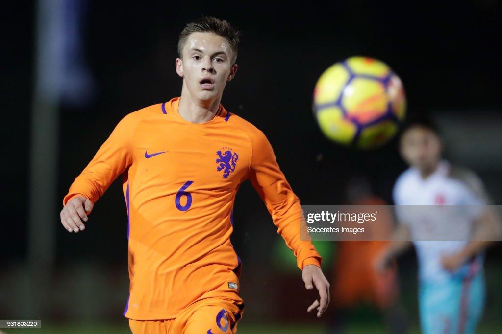 Bram Franken of Holland U17 during the match between Turkey U17 v Holland U17 at the Sportpark Parkzicht on March 13, 2018 in Uden Netherlands