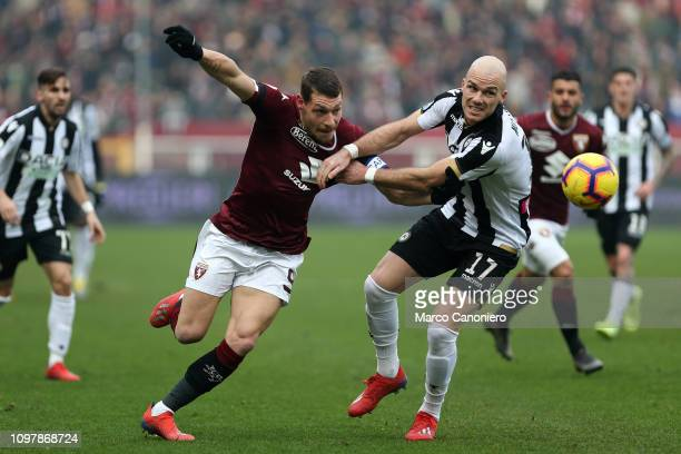 Bram Nuytinck of Udinese Calcio in action and Andrea Belotti of Torino Fc during the Serie A football match between Torino Fc and Udinese Calcio...