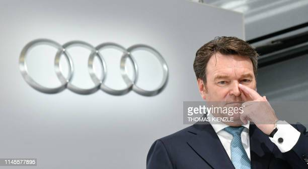 Bram Schot Dutch CEO of German car maker Audi poses for a picture during the company's annual shareholders' meeting in Neckarsulm southern Germany on...