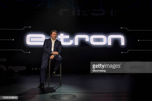The new Audi AG ETron allelectric sport utility vehicle stands during a launch event in Richmond California US on Monday Sept 17 2018 Audi unveiled...