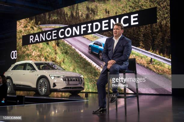 Bram Schot interim chief executive officer of Audi AG speaks during the launch event of the new Audi AG ETron allelectric sport utility vehicle in...