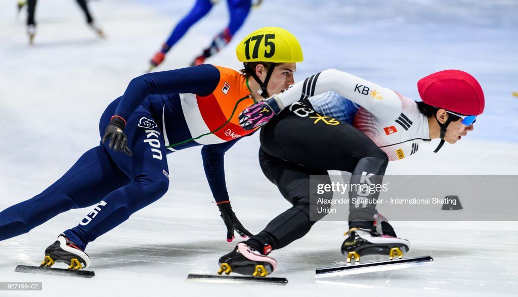 Bram Steenaart of the Netherlands and Kyung Hwan Hong of Korea compete in the Mens 3000m Relay Final A during the World Junior Short Track Speed Skating Championships Day 2 at Arena Lodowa on March 4, 2018 in Tomaszow Mazowiecki, Poland.