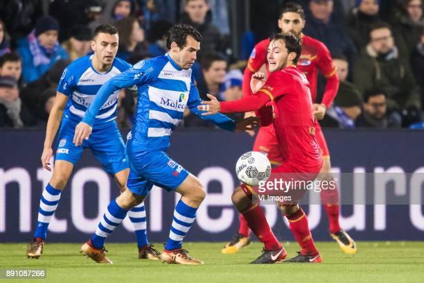 Bram van Polen of PEC Zwolle Dirk Marcellis of PEC Zwolle Joris van Overeem of AZ during the Dutch Eredivisie match between PEC Zwolle and AZ Alkmaar...