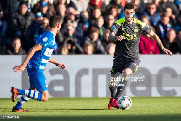 Bram van Polen of PEC Zwolle Gaston Pereiro of PSV during the Dutch Eredivisie match between PEC Zwolle and PSV Eindhoven at the MAC3Park stadium on...