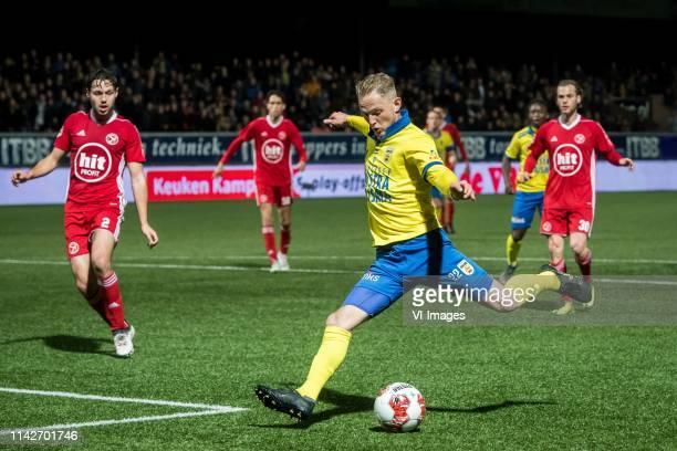 Bram van Vlerken of Almere City Andrejs Ciganiks of SC Cambuur Leeuwarden during the Dutch Keuken Kampioen Divisie play off match between Cambuur...