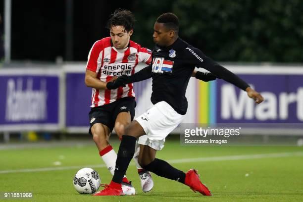 Bram van Vlerken of PSV U23 Elton Kabangu of FC Eindhoven during the Dutch Jupiler League match between PSV U23 v FC Eindhoven at the De Herdgang on...
