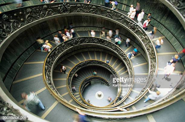 bramante's staircase, vatican museum, overhead view - state of the vatican city stock pictures, royalty-free photos & images