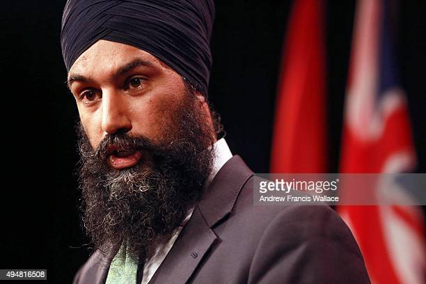 TORONTO ON OCTOBER 28 Brampton MPP and deputy Ontario NDP leader Jagmeet Singh at a news conference at Queen's Park October 28 2015 Singh was...