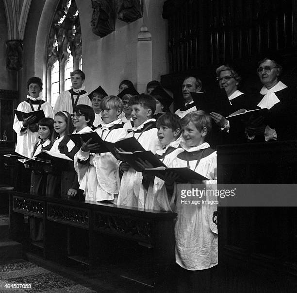 Brampton Parish Church choir singing during a service Rotherham South Yorkshire 1969 Brampton is situated between Rotherham and Bransley and was...