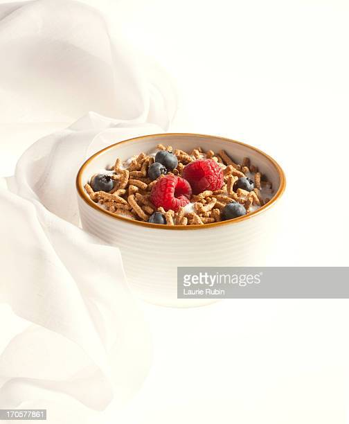 Bran Cereal in a bowl with berries