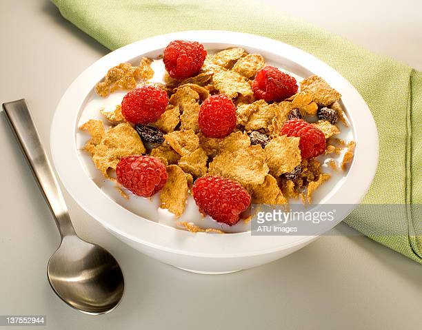 Bran cereal with napkin