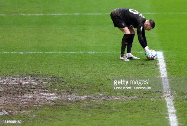 Bran Collins of Barnsley prepares to take a free kick during the Sky Bet Championship match between Barnsley and Norwich City at Oakwell Stadium on...