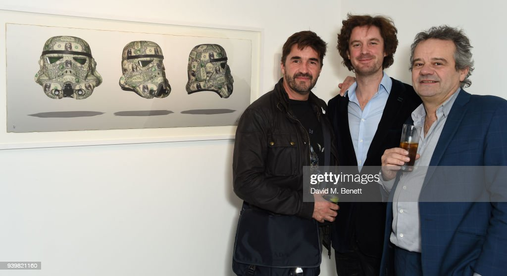 Bran Symondson, Ben Moore and Mark Hix attend a private view of Art Wars East at Hix Art on March 29, 2018 in London, England.