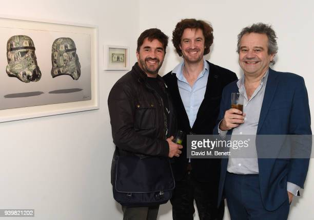 Bran Symondson Ben Moore and Mark Hix attend a private view of Art Wars East at Hix Art on March 29 2018 in London England