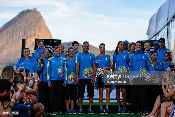 Branca Feres Bia Feres Juliano Belletti Cafu Fernanda Lima Lais Ribeiro and the volunteers pose for photo on the runway of Volunteers Uniform Launch...