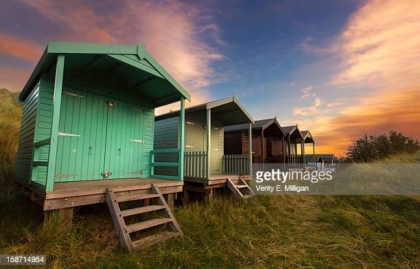 brancaster beach huts at sunrise - norfolk virginia stock pictures, royalty-free photos & images