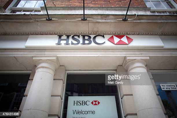 A branch of HSBC is seen on the high street in Salisbury city centre on June 9 2015 in Wiltshire England Europe's biggest bank is to cut thousands of...