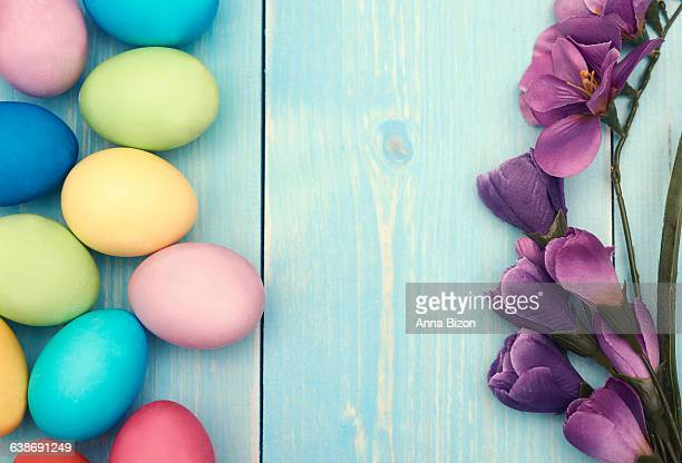 Branch of lilac flower and colorful Easter eggs. Debica, Poland