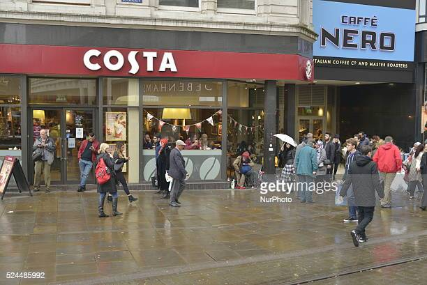 A branch of the Costa coffee shop part of the Whitbread Group in Manchester England trading on Tuesday 8th December 2015