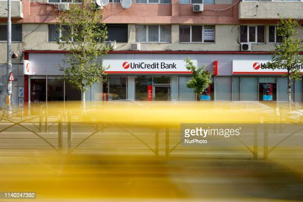 A branch of the UniCredit bank is seen in central Bucharest Romania on April 30 2019