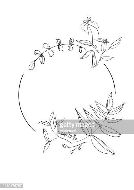 branches and leaf  in a circle - branch stock pictures, royalty-free photos & images