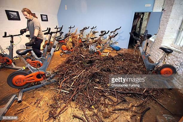 Branches and twigs litter a gym as flood water recedes and the clean up of debris and damage begins on November 21, 2009 in Cockermouth, United...