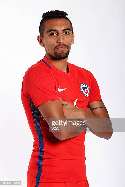 Branco Ampuero of Chile poses during the team presentation ahead of the 2017 Gree China Cup International Football Championship on January 9 2017 in...