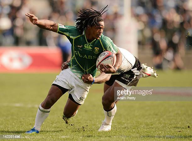 Branco du Preez of South Africa in action in the South Africa vs Fiji match during day two of the Tokyo Sevens at Prince Chichibu Stadium on April 1,...