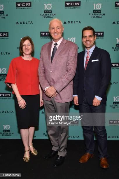 TCM Brand Activation Partnership VP Genevieve McGillicuddy Special Guest Robert Harling and TCM Host Dave Karger attend the screening of 'Steel...