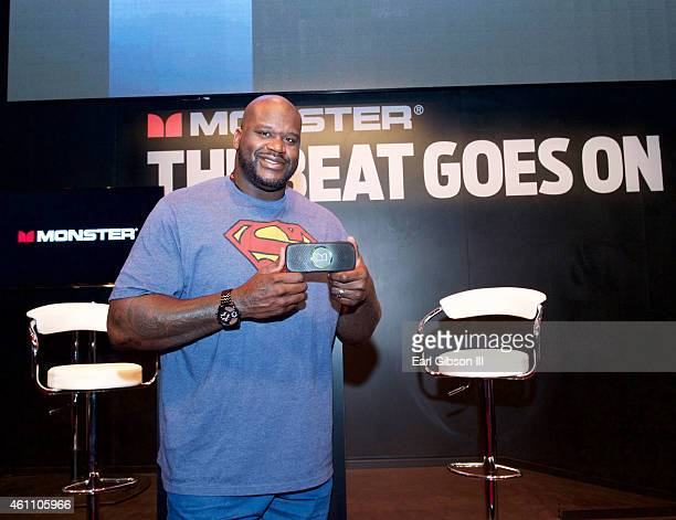 Brand Ambassador and retired basketball player Shaquille O'Neal attends Day 1 of CES 2015 at the Monster Products booth at Las Vegas Convention...