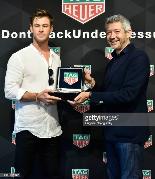 Brand Ambassador Chris Hemsworth and TAG Heuer Vice President of Marketing Andrea Soriani attend the TAG Heuer Celebration of The 102nd Running Of...