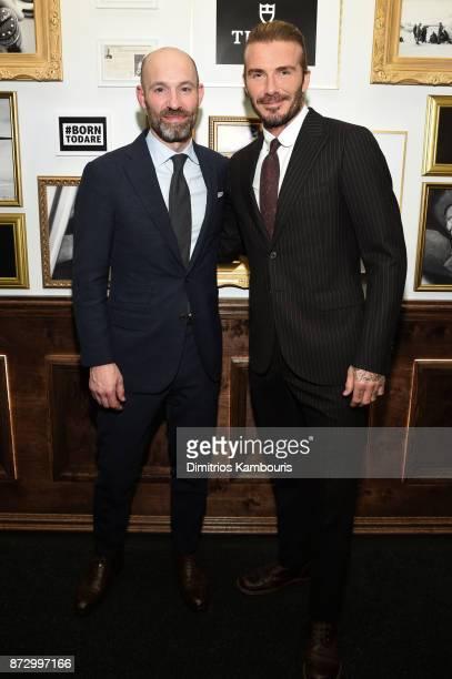 Brand Ambassador David Beckham and Russell Kelly Head of TUDOR Watch USA attend a celebration of Swiss Watch Brand TUDORs new ambassador at The...