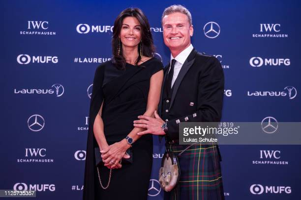 IWC brand ambassador David Coulthard and his wife Karen Minier attend the 2019 Laureus World Sports Awards at the Salle des Etoiles Sporting Monte...