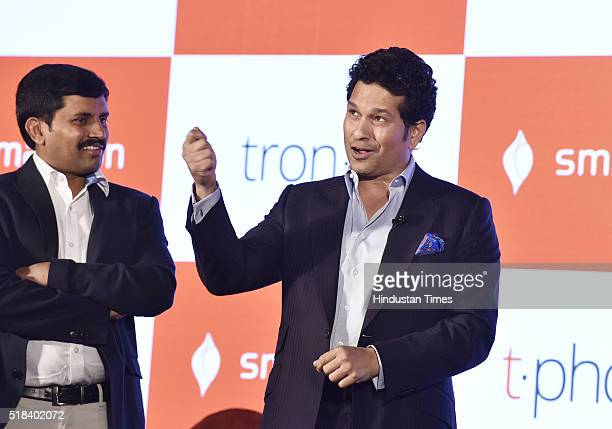 Brand ambassador of Smartron former cricketer Sachin Tendulkar at an event to unveil the Ultrabook convertible tbook and premium smartphone tphone at...