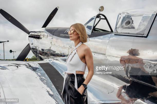 Brand ambassador Rosamund Pike attending the celebration of the official start of the Silver Spitfire - The Longest Flight expedition in Goodwood. To...