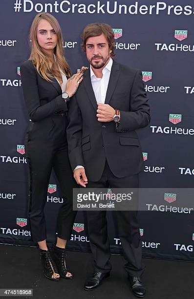 Brand ambassadors Cara Delevingne and Fernando Alonso attends the TAG Heuer Monaco Party on May 23 2015 in Monaco Monaco