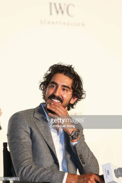 Brand Ambassadors Dev Patel attends a press conference and panel discussion in Beijing's Rosewood Hotel moderated by host Andy Chen and featuring IWC...