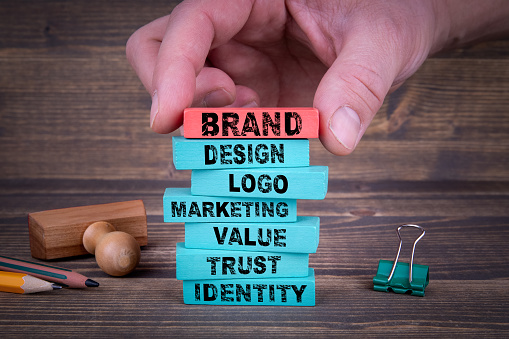 Brand Business Concept With Colorful Wooden Blocks 971373744