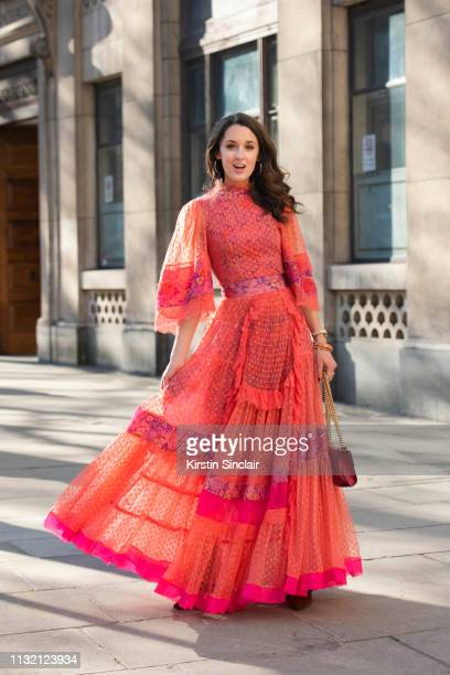 Brand Consultant Rosanna Falconer wears a Bora Aksu dress Gucci bag and Vintage jewellery during London Fashion Week February 2019 on February 15...