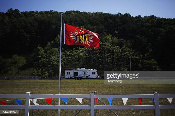 A TNT brand flag flies outside a fireworks stand near Interstate 75 in Pioneer Tennessee US on Friday July 1 2016 Fireworks sales expected to surge...