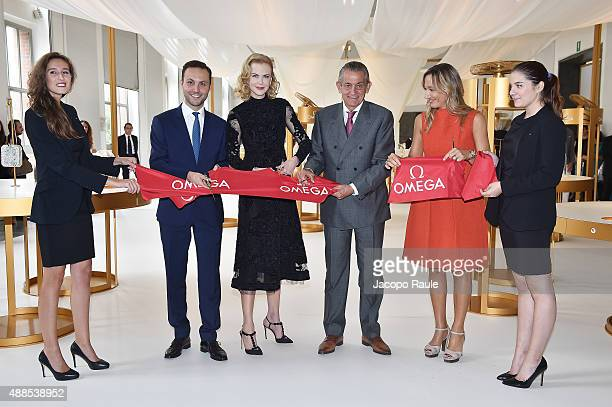 Brand Manager Omega Malik Bey Actress Nicole Kidman President Omega Stephen Urquhart Country Manager Swatch Group Italia Burdese Laura and guests...