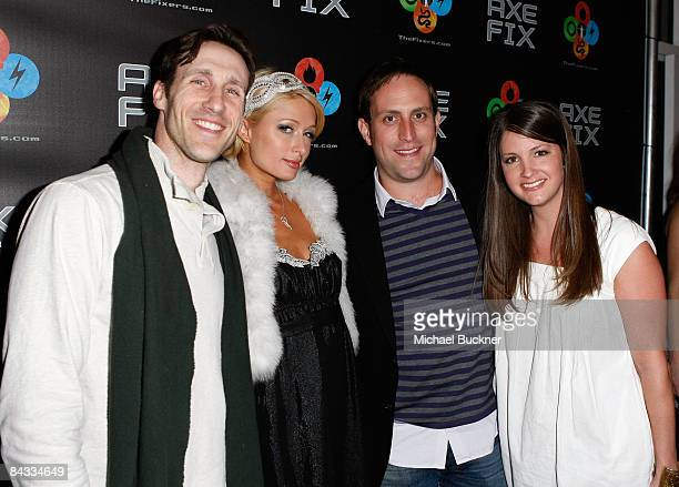 "Brand Manager Shane Kent, Paris Hilton, AXE's Andy Simpson and Heather Mitchell attend the opening night of ""AXE Fix Club"" held during the 2009..."