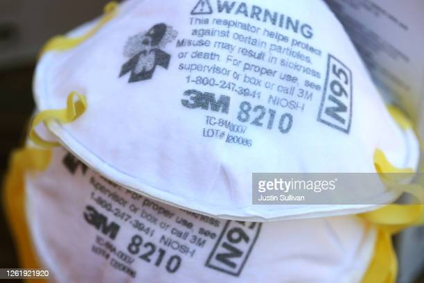 3M brand N95 particulate respirators are displayed on a table on July 28 2020 in San Anselmo California 3M reported second quarter earnings that fell...