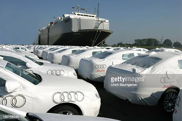 Brand new Audi passenger cars in the harbour of Emden ready for the oncoming export via ship to the USA