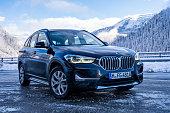 Brand new black BMW X1 SUV 2020 parked in Switzerland