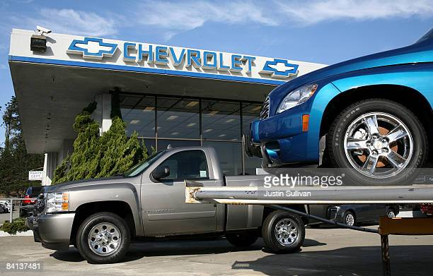 Brand new Chevrolet cars are displayed at Stewart Chevrolet December 29 2008 in Colma California General Motors and Chrysler are scheduled to receive...