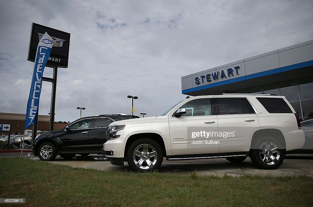 A brand new Chevrolet Tahoe SUV is displayed at Stewart Chevrolet on July 16, 2014 in Colma, California. According to a report by IHS Automotive, new registrations on SUVs and crossover vehicles surpassed sedans for the first time with SUVs and crossovers taking 36.5 percent of registrations while sedans registered 35.4 percent.