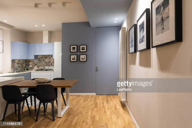 brand new empty modern design apartment for rental - light blue stock pictures, royalty-free photos & images