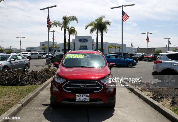 A brand new Ford car is displayed on the sales lot at The Ford Store San Leandro on July 25 2019 in San Leandro California The State of California...
